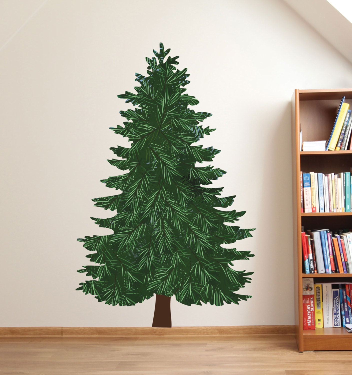 Christmas Tree Wall Decal- Reusable Wall Graphic, Wall Sticker, sizes to choose from, Use every year! - SolanaGraphicStudios