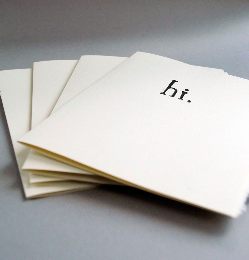 Four  'Hi'  Block Print Cards  Linocut  Notecard Typewriter Font 5 x 7 inches Blank Inside