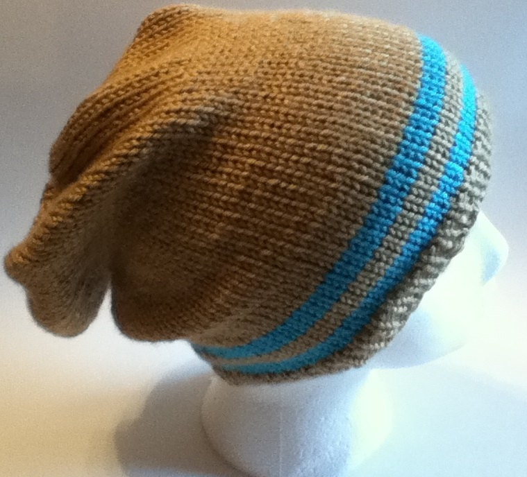 Adult Knit Hat Pattern : Hat Knitting Pattern PATTERN ONLY: Striped hipster hat by 3colon7