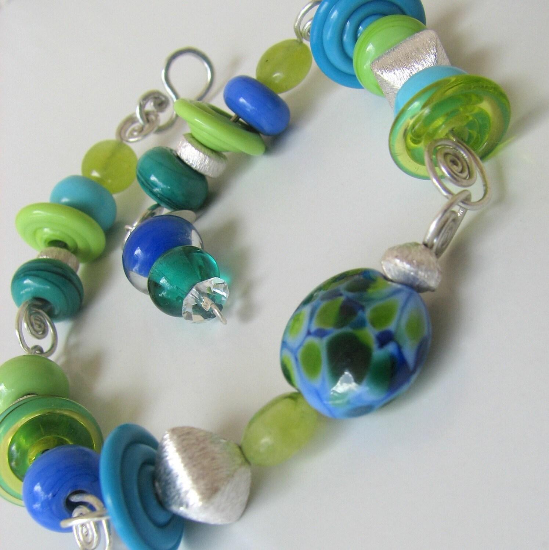 Artisan lampwork Fun in the Sun hand linked sterling bracelet