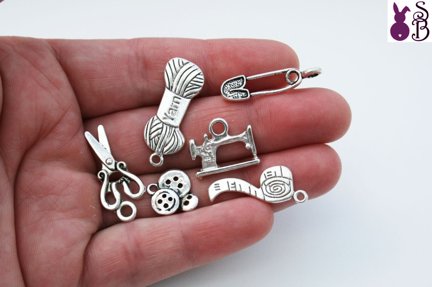 1 Pack Sewing  Knitting Charms (6 in a Pack)  Tibetan Style Antique Silver  FREE SHIPPING