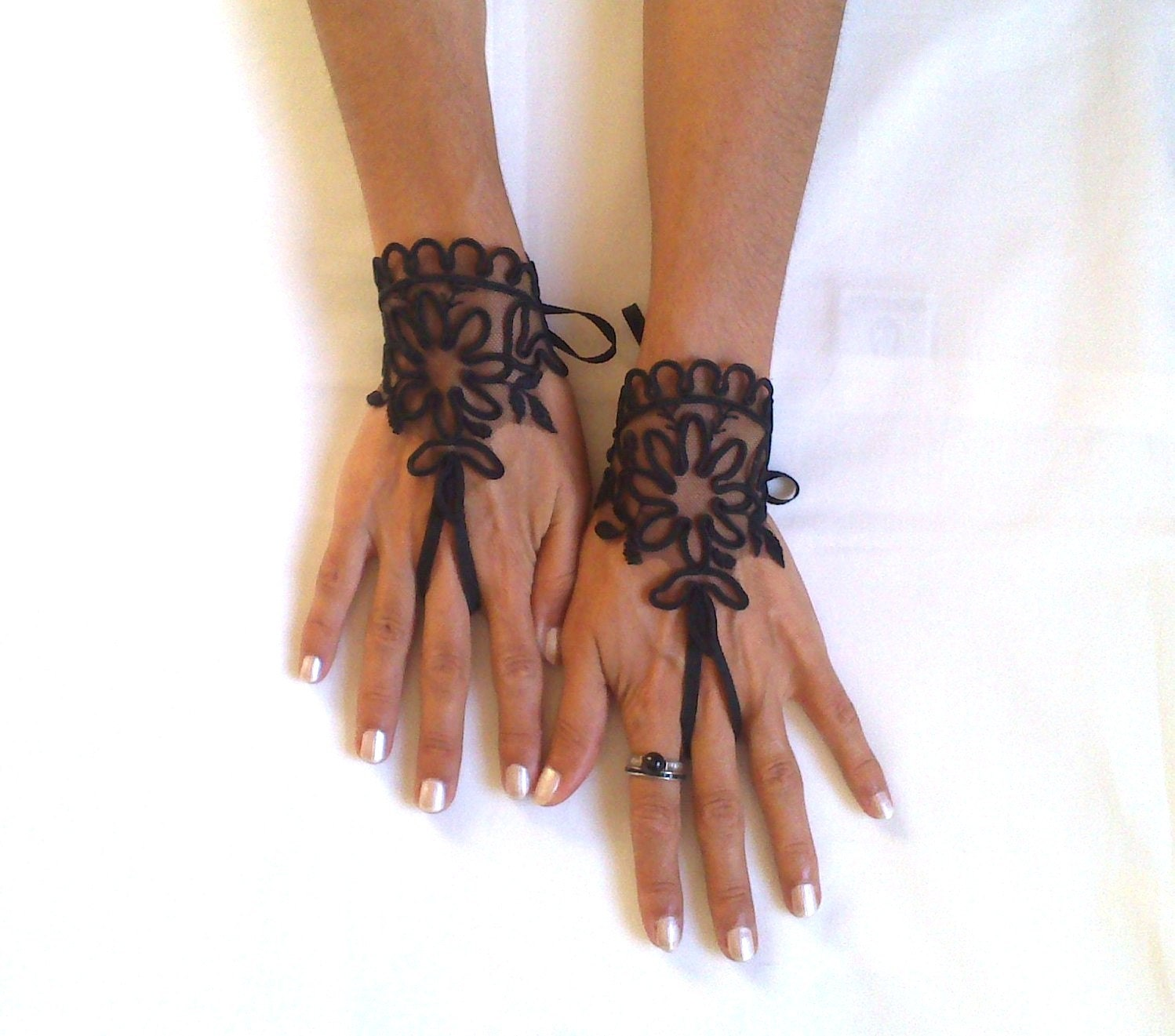 Goth gothic ivory or black lace gloves french lace by for Lace glove tattoo
