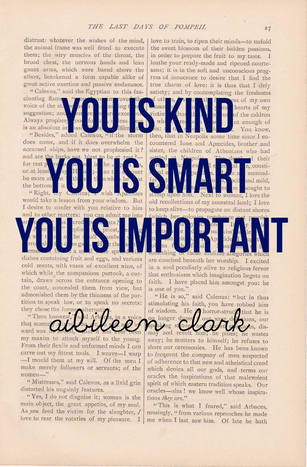 vintage dictionary page YOU IS KIND - The Help movie quote - vintage book page print - printed on vintage book page or page from the Help