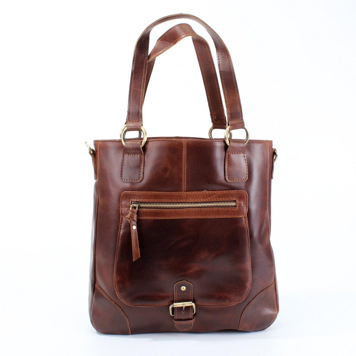 Leather Handbag Tote Shoulder Bag oiled vintage brown