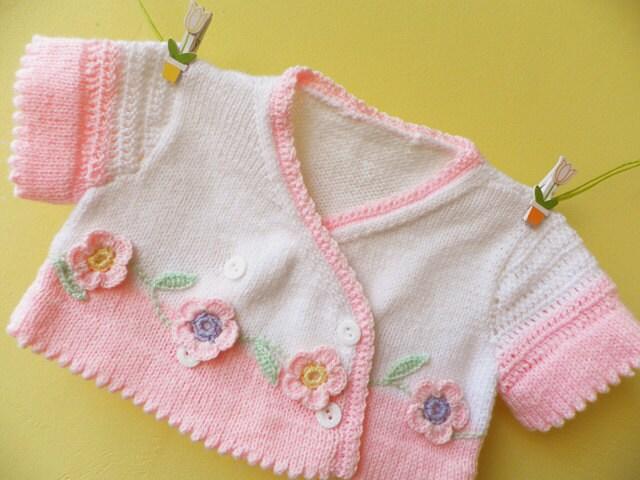 """فروش تابستان -- در حال حاضر فقط 35 دلار -- دست کشباف تابستان بچه بولرو """"باغ گل"""" با crocheted گل آماده به کشتی"""