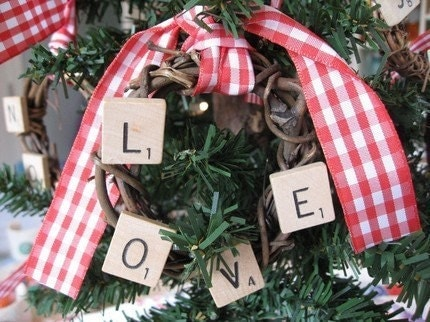 Scrabble Tile Grape Vine Wreath Tree Ornaments