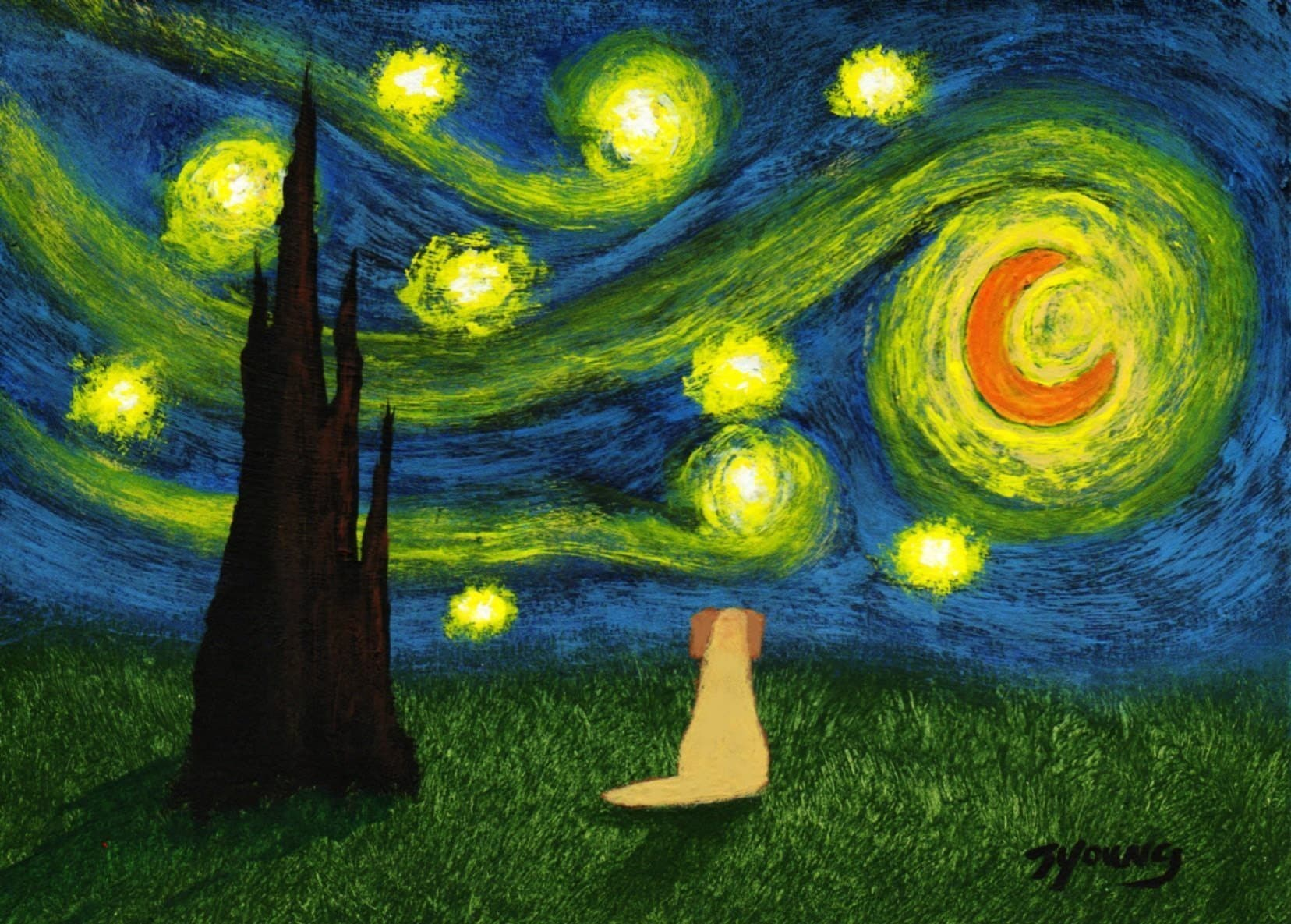 Yellow Lab UNDER A STARRY SKY art PRINT of Todd Young painting