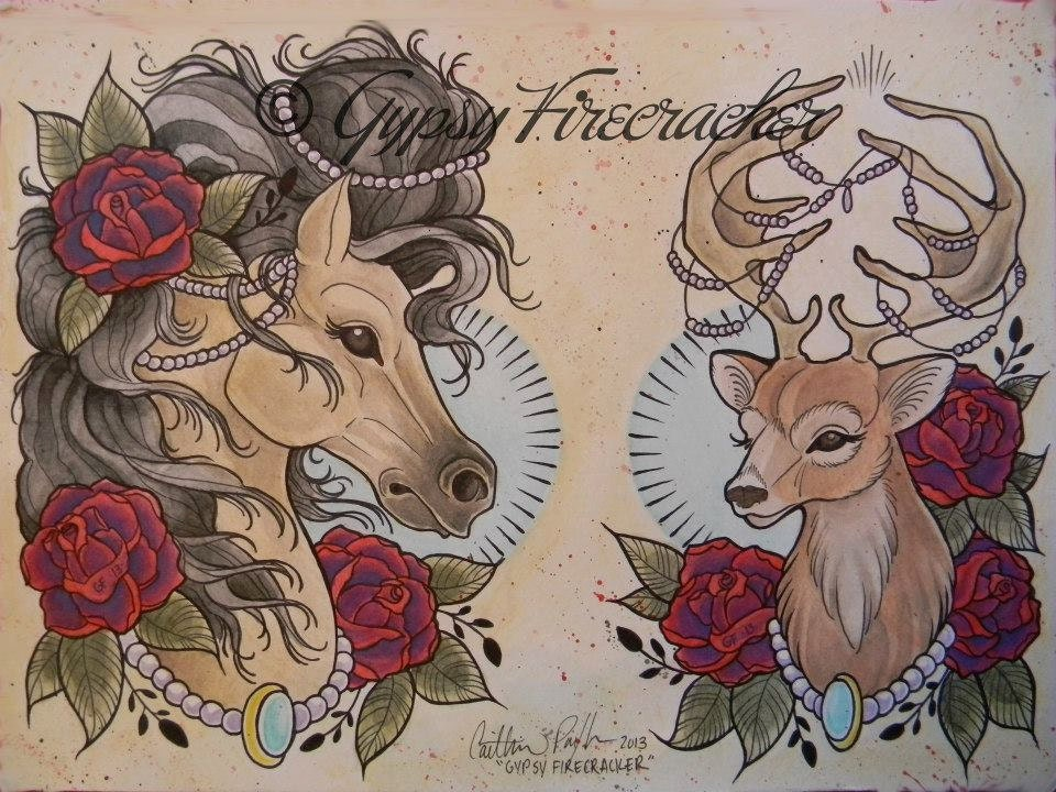Fancy Animals Tattoo Flash Art Print by gypsyfirecracker ...