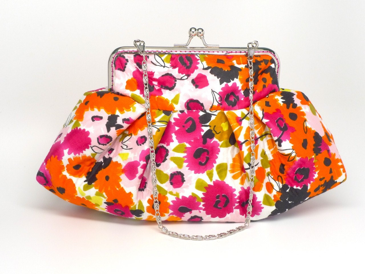 Cluth bag with colorful flowers printed silk