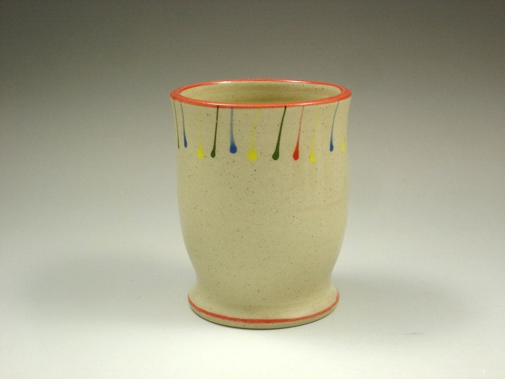 Juice Cup - Rainbow stripes of Red, Yellow, Blue, Green with Red border handmade by Whitney Mitchell