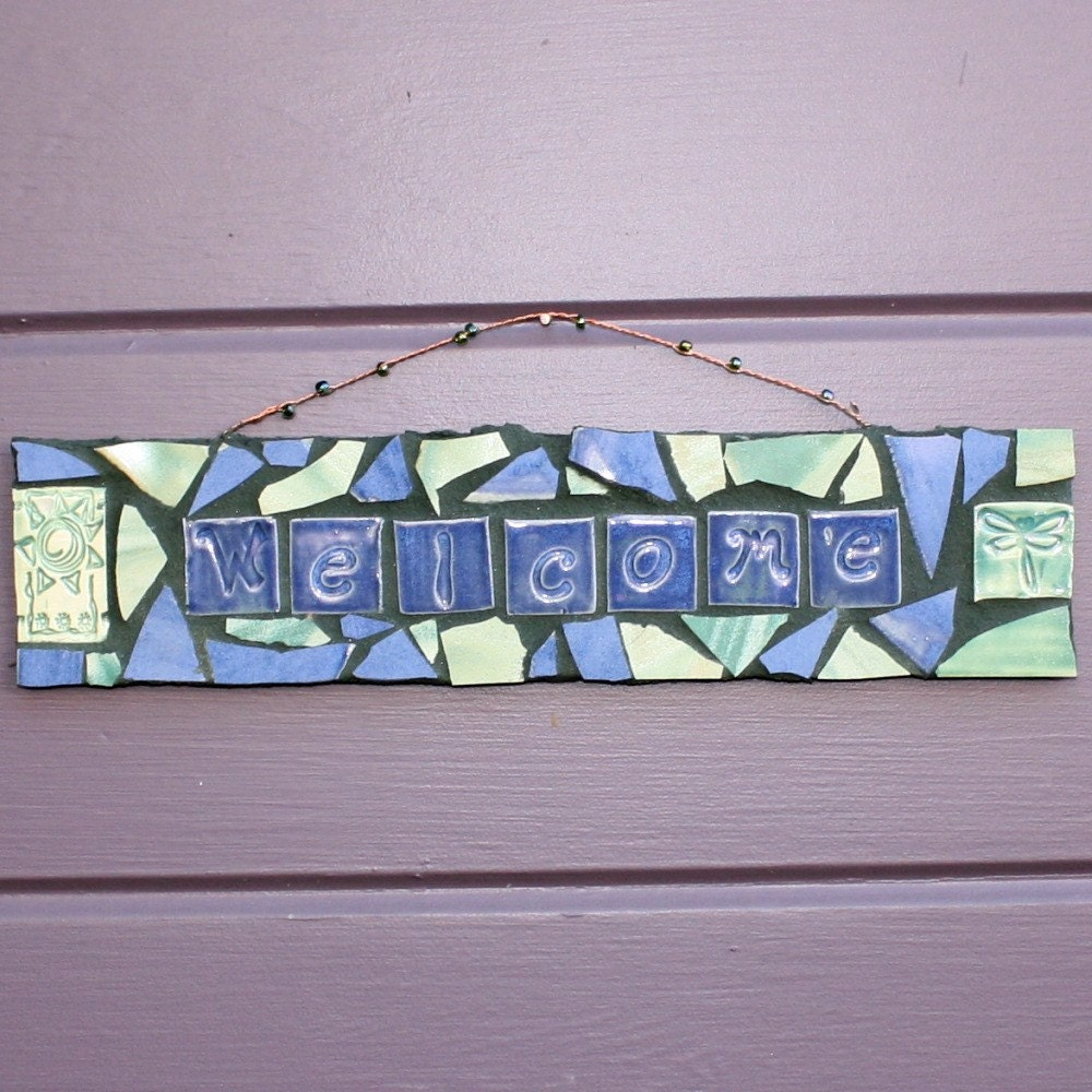 Sun and Dragonfly Mosaic Welcome Sign-Blue and Green