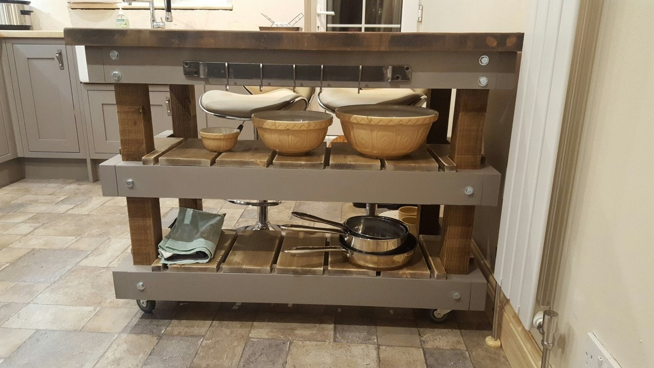 Rustic Breakfast Bar Butchers Block Kitchen Unit  Any Height Colour