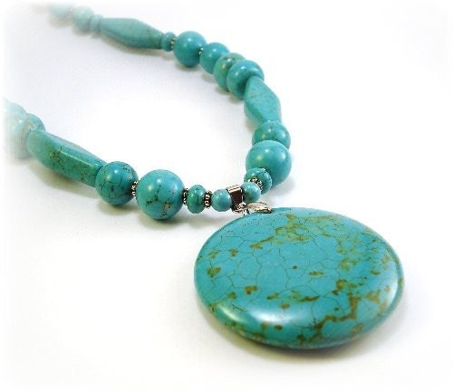 Turquoise Beaded Necklace with Round Pendant and Matching Earrings...Free Shipping