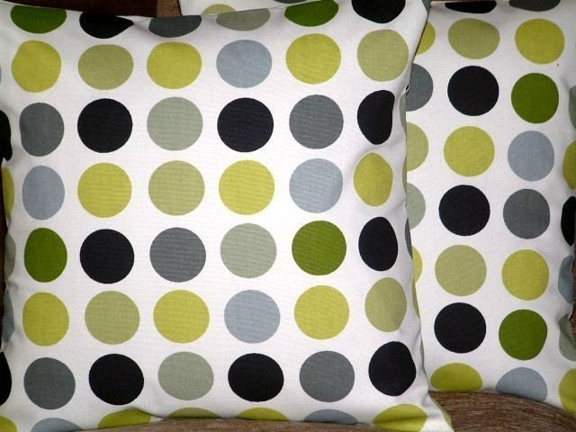 Two New 16 inch Handmade Kiwi Green Black Grey Spots Print Design Funky Contemporary Designer Retro Pillow Cases,Cushion Covers,Pillow Covers,Throw Pillow,NEW FABRIC