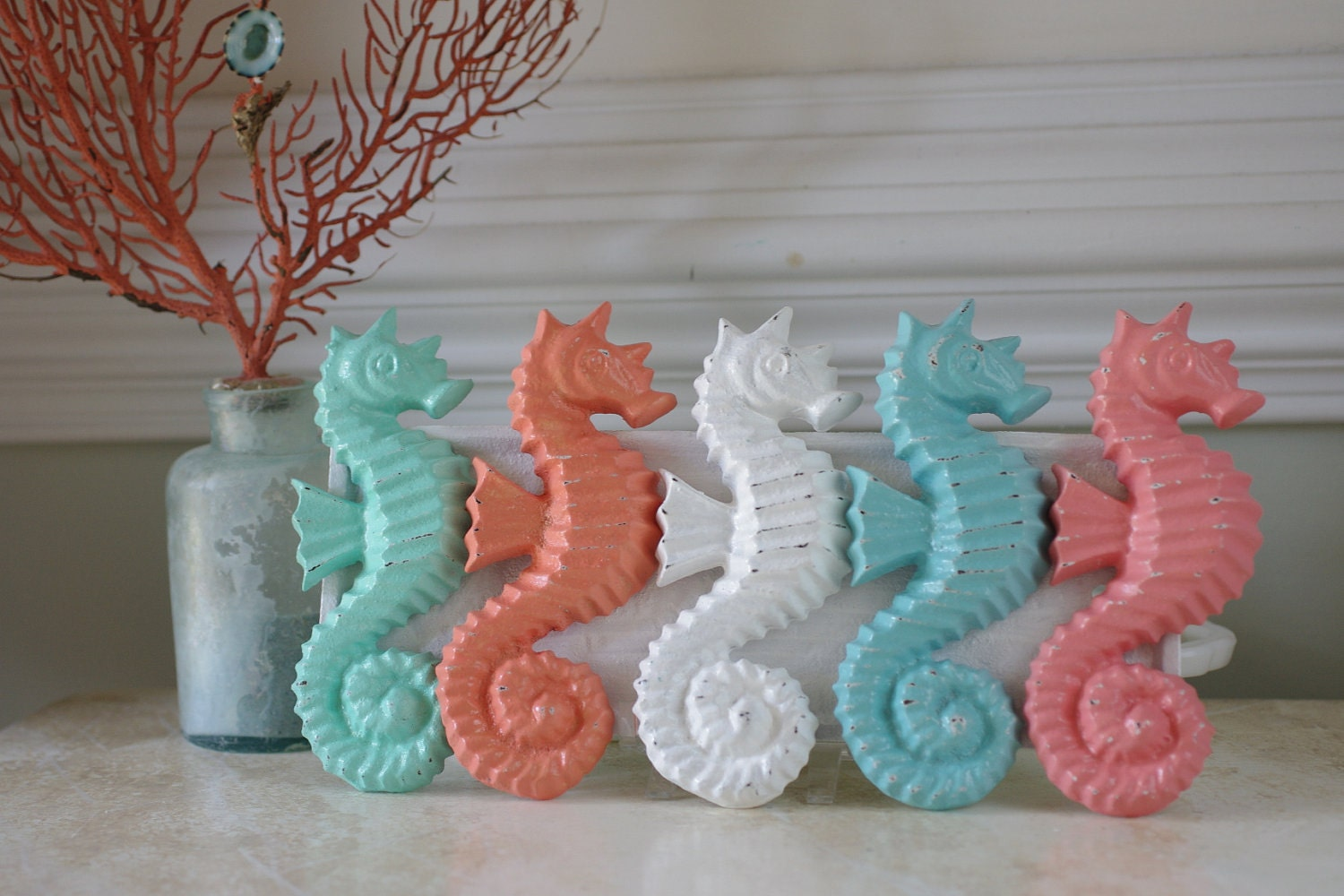 Beach Decor Cast Iron Sea Horse  - PICK YOUR COLOR