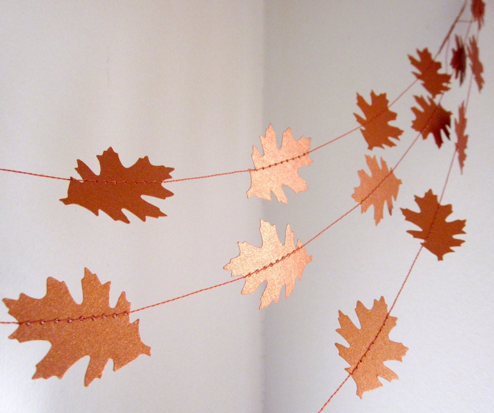 Paper garland crisp fall days fall decoration leaves for Autumn leaf decoration