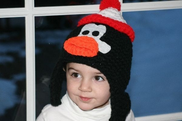 Unique handmade character hat made to look like Chilly Willy penguin with ear flaps