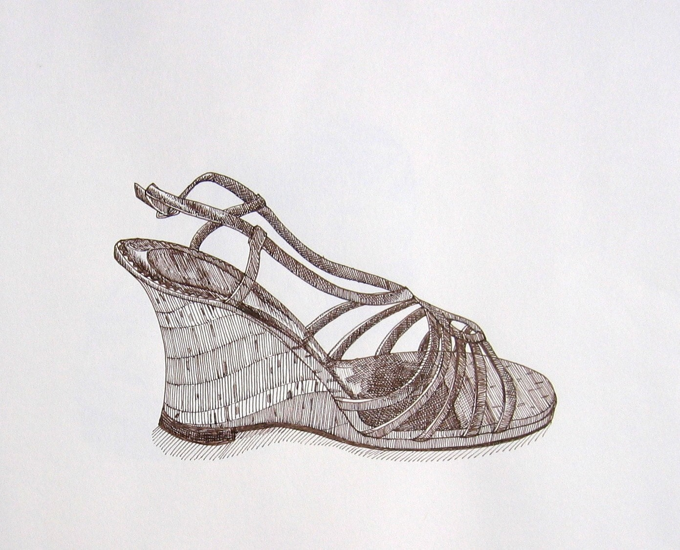 Strappy Sandal - Original Pen and Ink Drawing