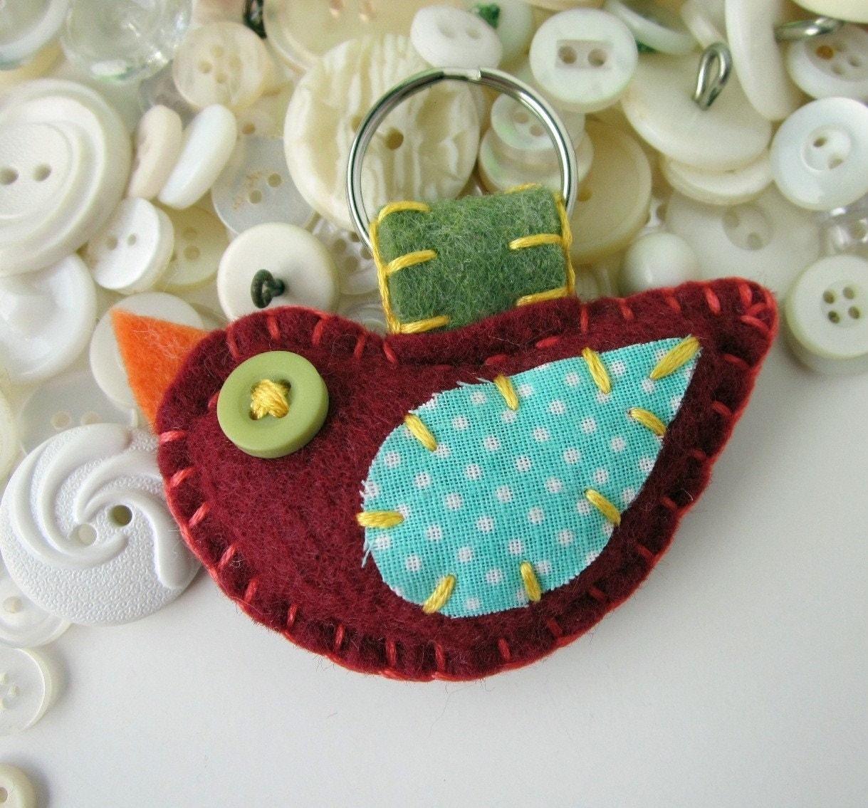 Felt Bird Keychain Tweet Cute Embroidery Maroon Aqua