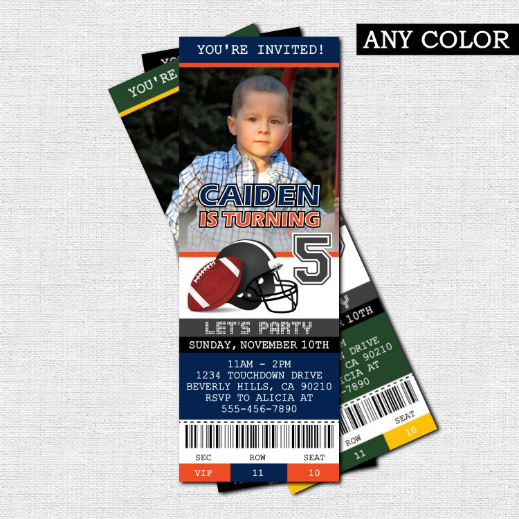 Football ticket invitations birthday party print your own any
