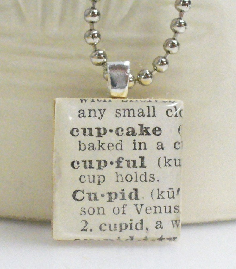 Cupcake Cupful Cupid Dictionary Scrabble by Vintage2NewJewelry