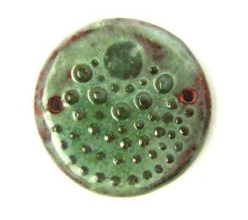 Moss Green Handmade Ceramic Bumpy Pendant