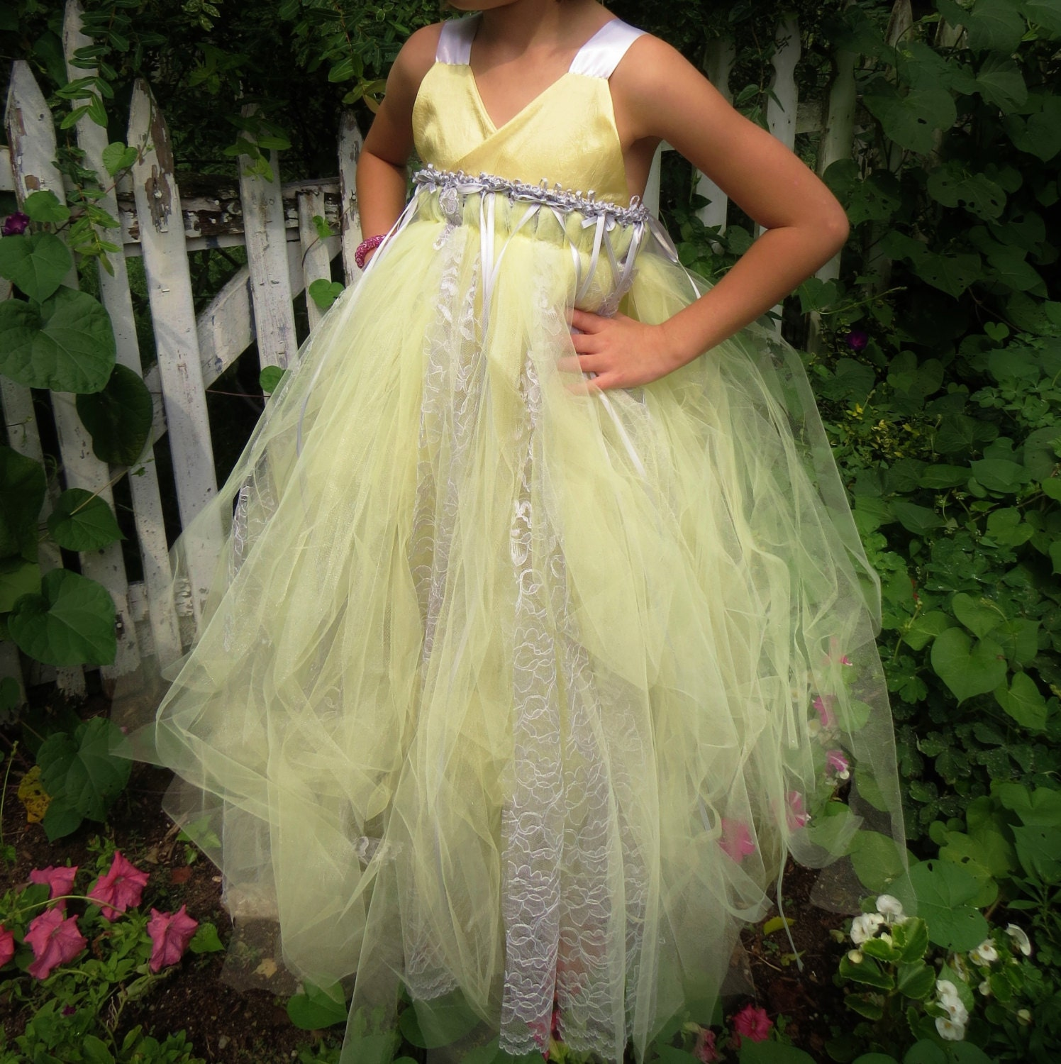 Yellow and Gray Tulle Flower Girl Dress by sahmom2threegirls