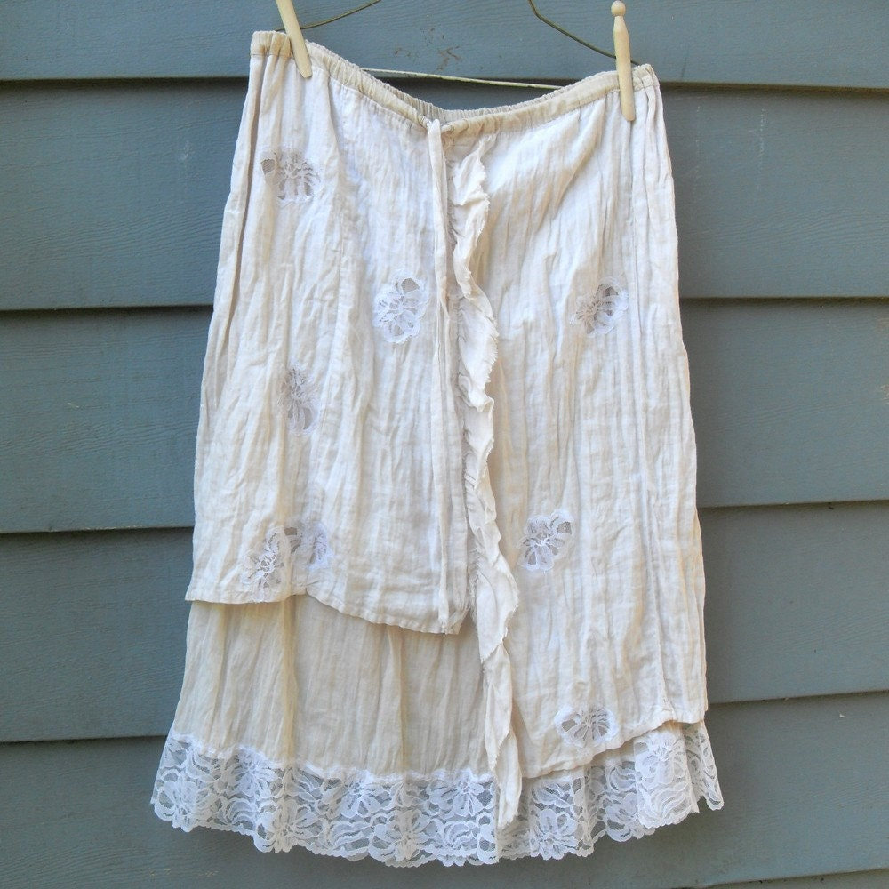 Boho Grunge Layered Linen and Lace  Asymetric by SalvationScraps from etsy.com