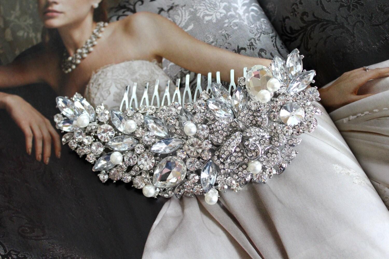 Large Pearl Bridal Hair Comb, Wedding Headpiece, Rhinestone Wedding Hair Comb, Wedding Combs, Hair Accessories, Wedding Accessories - WhiteAisleBoutique
