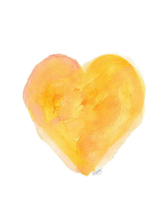 Gold Watercolor Heart Art Print 8x10 Yellow By