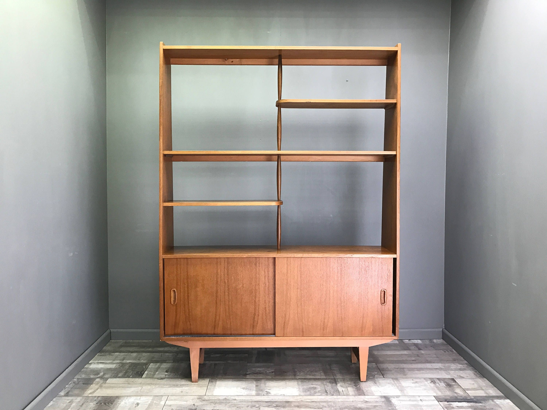 Beautiful Danish Room Divider  Retro Vintage Teak Bookcase Display Cabinet