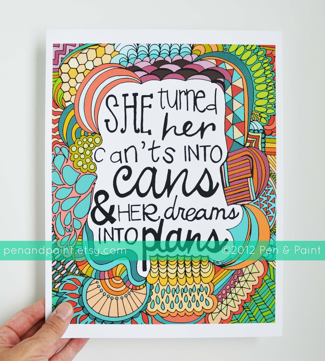 She Turned Her Can'ts Into Cans and Her Dreams Into Plans, Kobi Yamada Graduation Gift, Illustration, Inspiring Quote, 8 x 10 Art Print