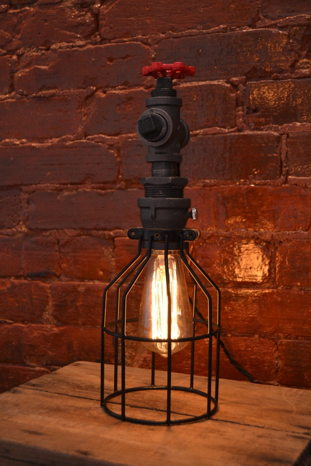 Industrial Steel Pipe Table Lamp Edison Bulb By