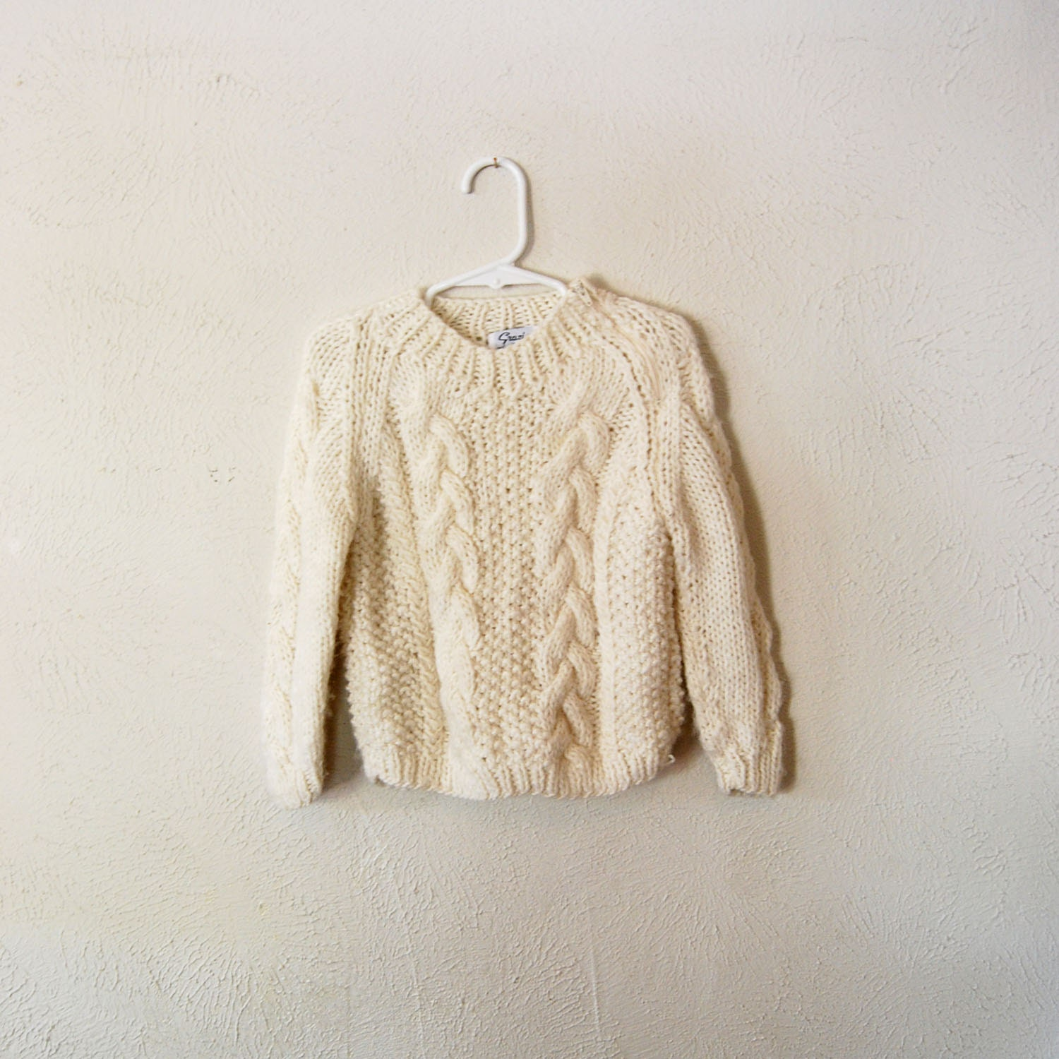 vintage italian hand knit wool sweater for children - olliesvintage