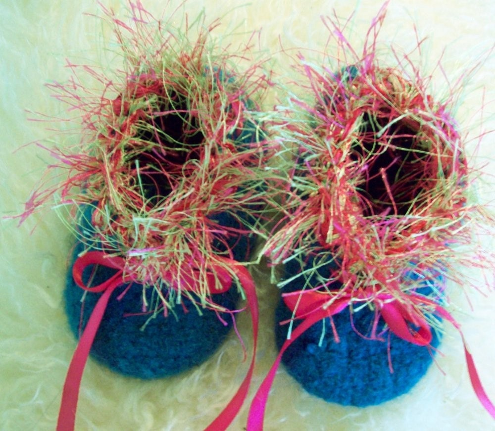 Turquoise Baby Ballet Booties with Hot Pink