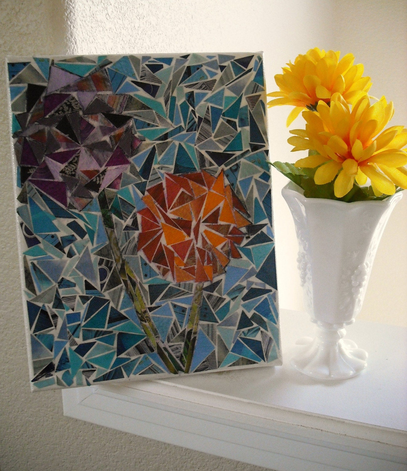 Firework Flowers Mosaic Wall Art