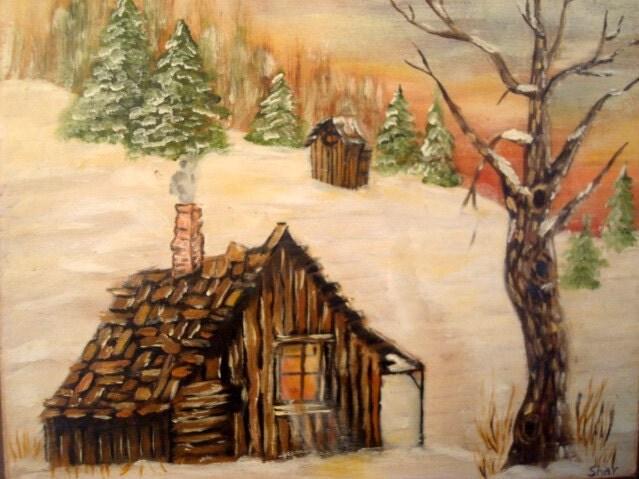 Vintage Handmade Rustic Painting Log Cabin By