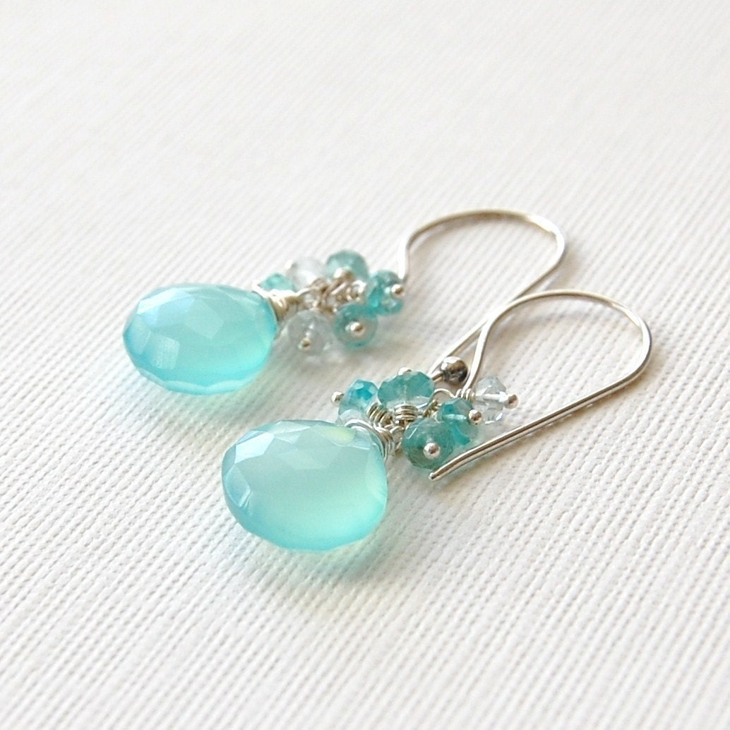 Camille Earrings - Peruvian Chalcedony, Apatite and Aquamarine
