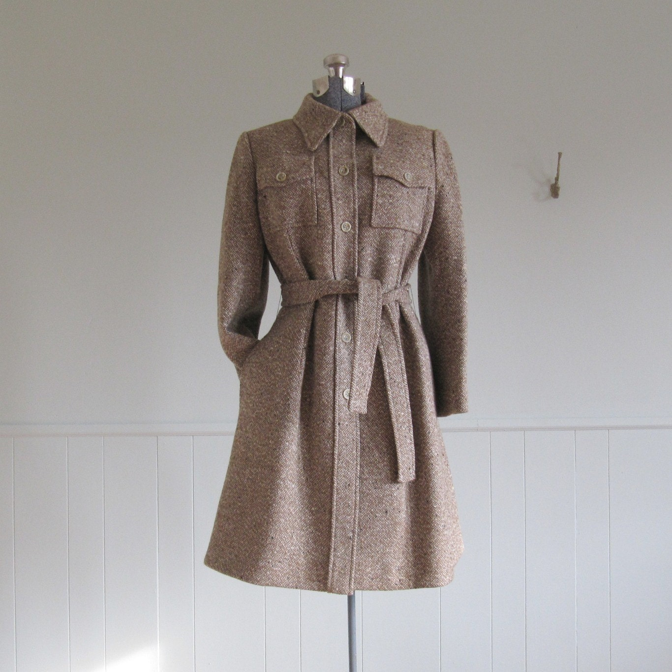 1960s vintage TWEED TIE WAIST coat