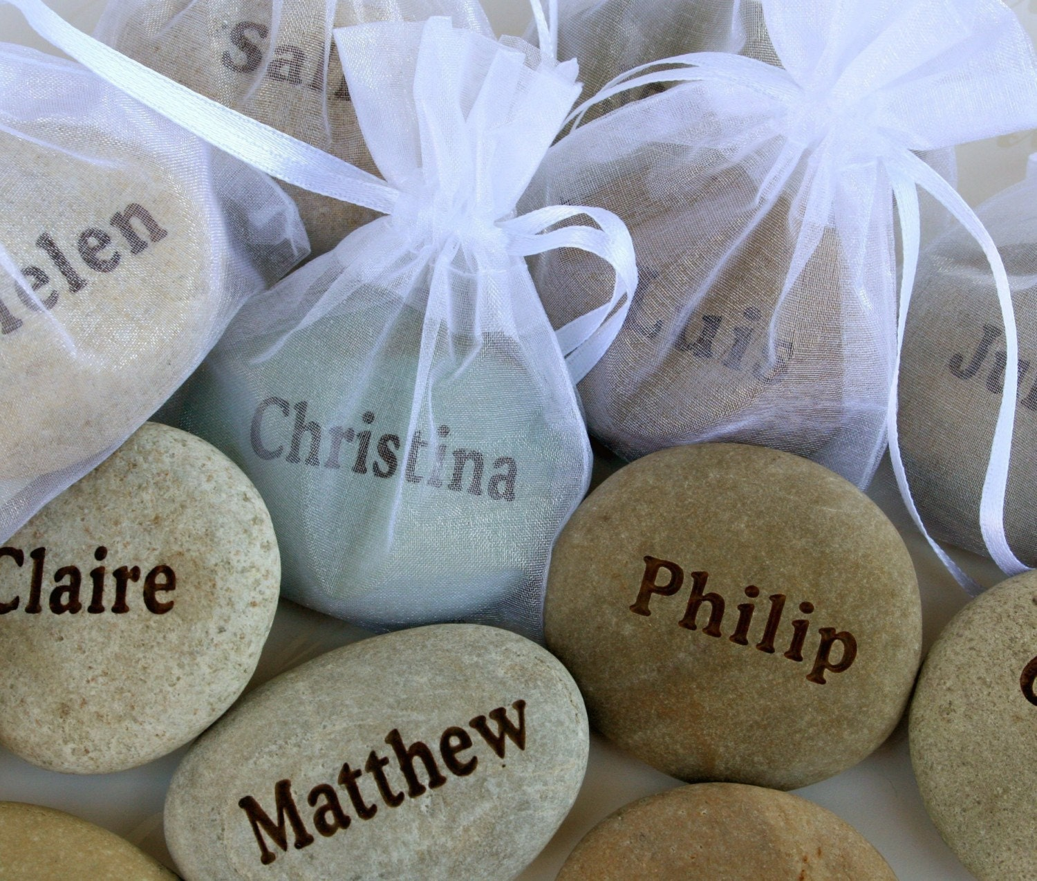 Sample Personalized place cards and wedding favors with Guests' Names -- set of 2