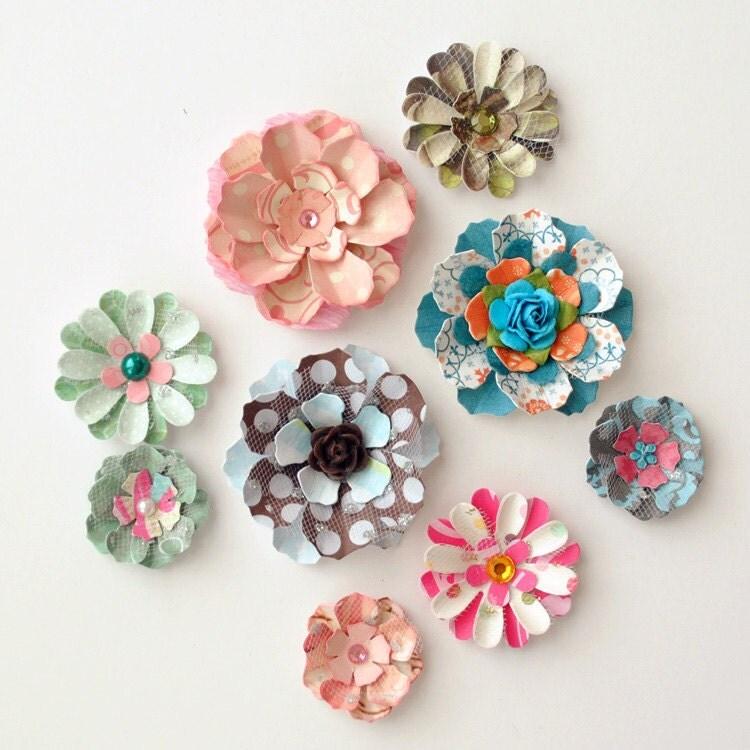 9 ручной мерных бумажные цветы