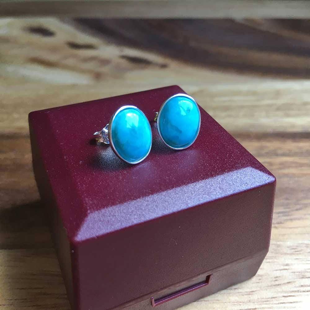 Sterling Silver Earrings Turquoise Earrings Turquoise Jewellery Oval Stud Earrings Womens Earrings Womens Jewellery For Her Handmade STSE11