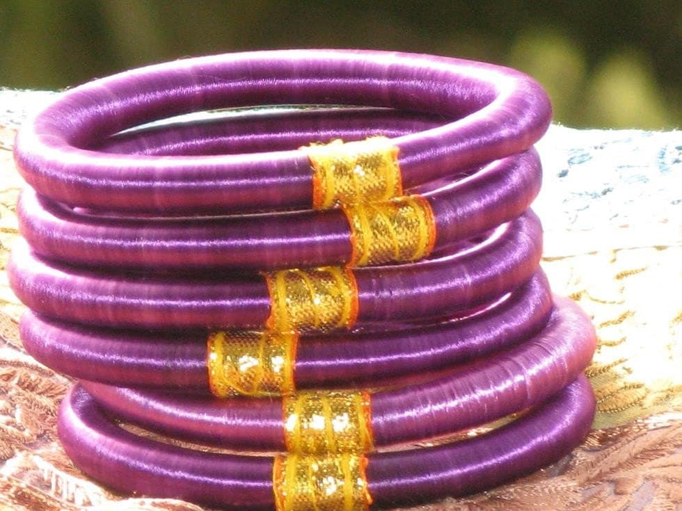 Purple Silk Thread Wrapped Bangle Bracelets (Set Of 6)