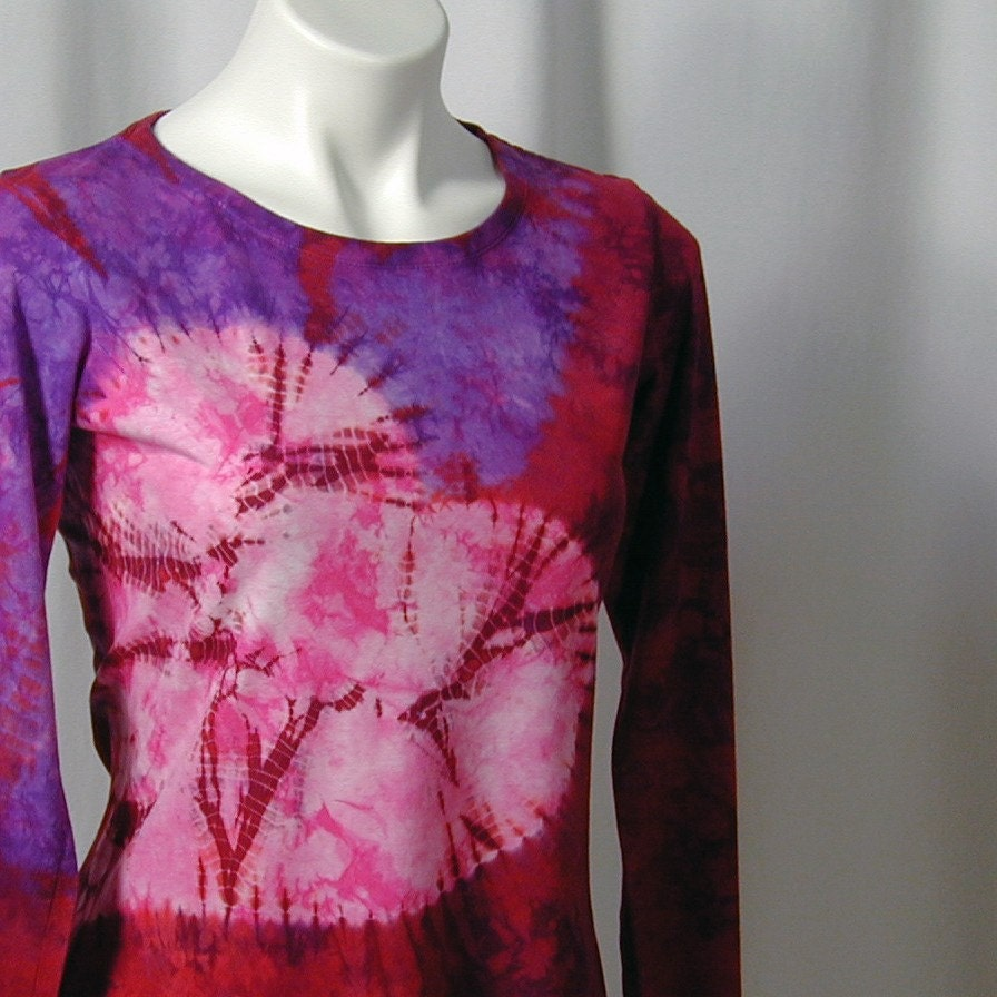 Wild Hearted Shibori Bamboo Tee in Scarlet, Purple, and Hot Pink (small)