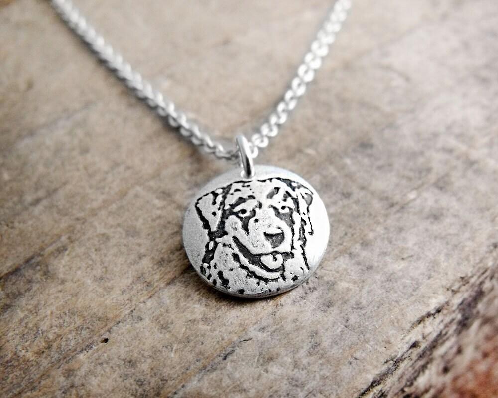 Australian Shepherd necklace - dog necklace - tiny - silver