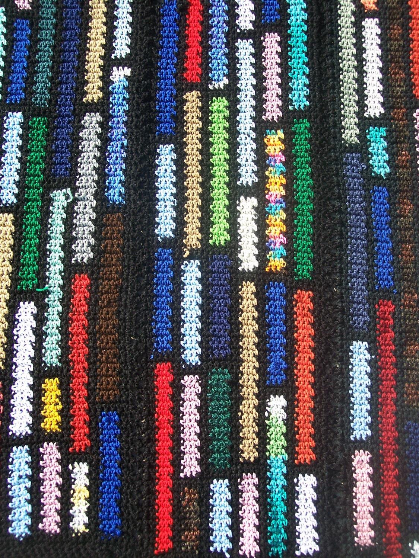 Crochet Afghan Patterns Using Scrap Yarn : Items similar to Crocheted Afghan - Scrap Blanket - Black ...