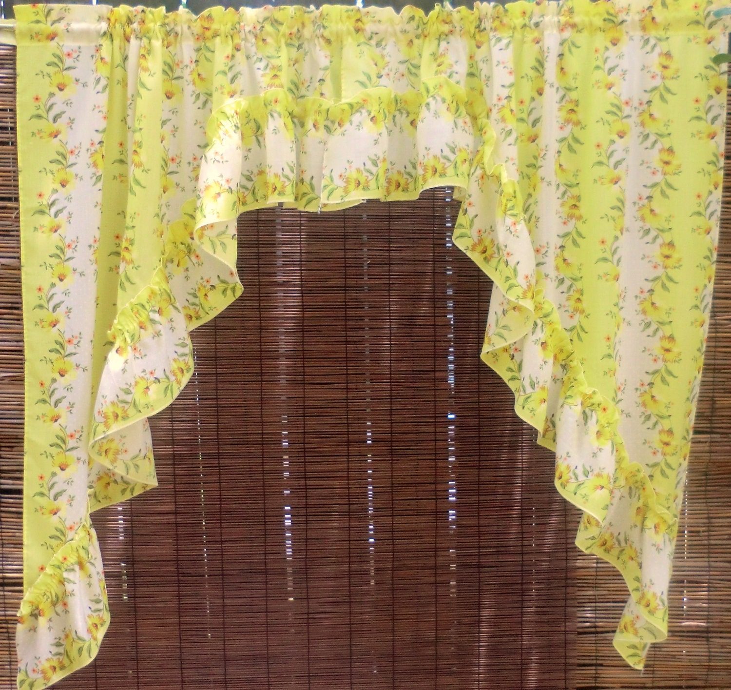 vintage floral cafe curtains kitchen yellow by babylonsisters