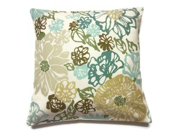 Modern Teal Decorative Throw Pillow : Decorative Pillow Cover Teal Mint Green Olive by LynnesThisandThat