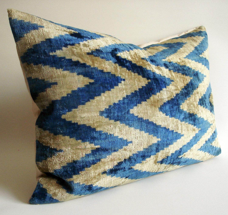 Sukan / SALE - Soft Hand Woven - Silk Velvet Ikat Pillow Cover - 16x22 inch - Beige, Dirty White, Blue, Dirty Blue, Dark BlueColor