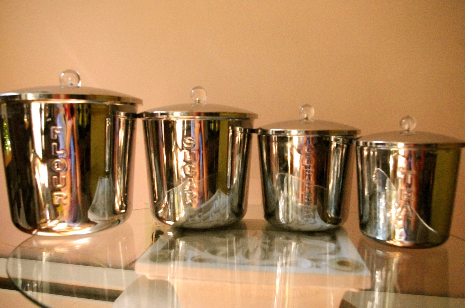 Vintage Set of 4 Everedy Stainless Steel Kitchen Canisters